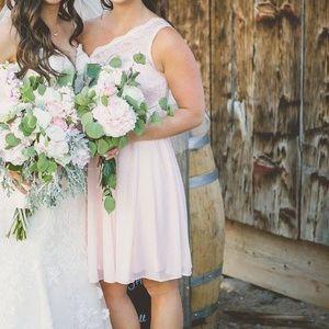 David's Bridal Short 1 Shoulder Bridesmaid Dress